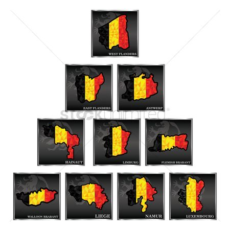 Belgium : Set of belgium state map wallpapers