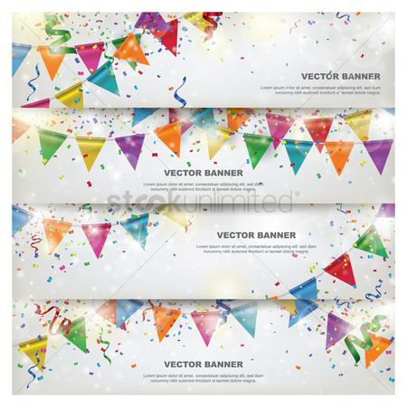 Sample text : Set of birthday banners