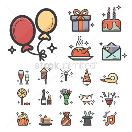 Champagnes : Set of birthday icons