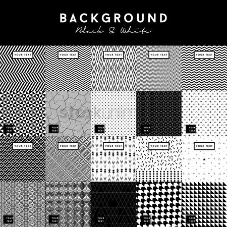 Zig zag : Set of black and white backgrounds
