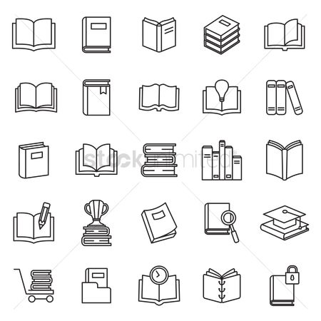 Shopping cart : Set of book icon