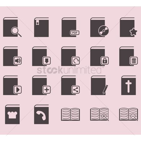 Delete : Set of book icons