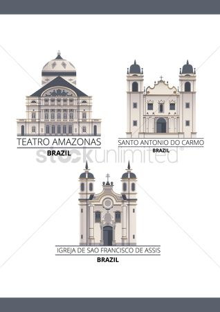 Tourist attractions : Set of brazil landmarks