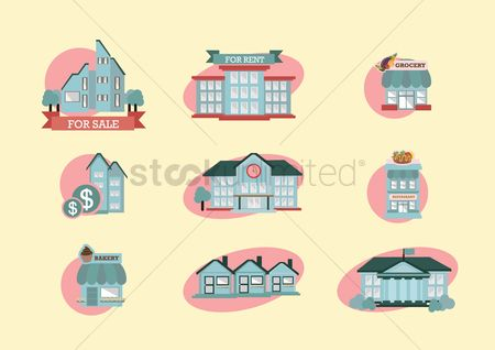 Market : Set of building icons