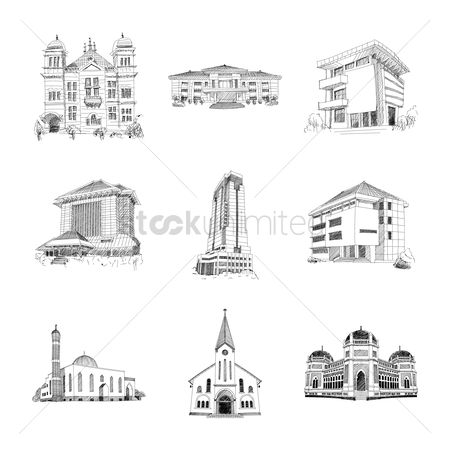Christian : Set of building icons