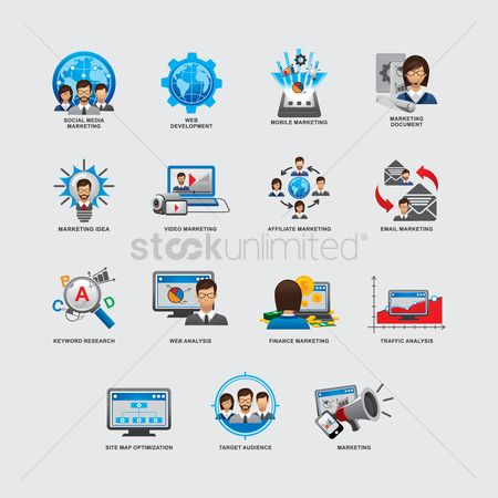 Magnifying : Set of business and strategy icons