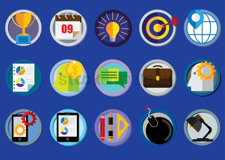 Tablet : Set of business icons