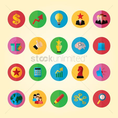 Magnifying : Set of business icons
