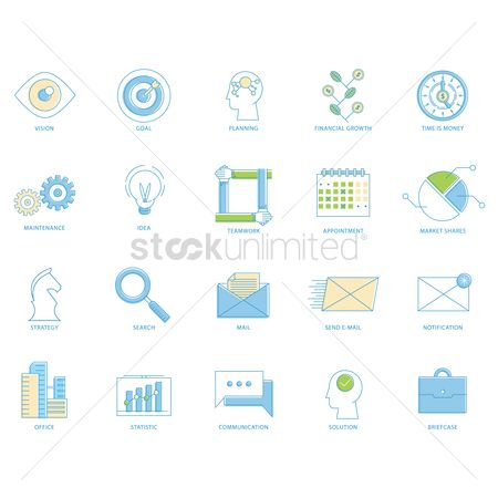 Notification : Set of business icons
