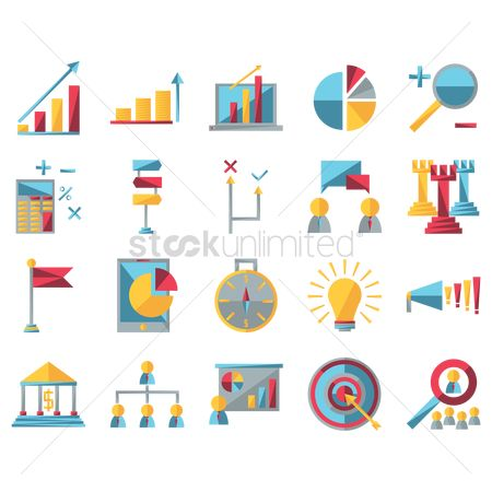Magnifying : Set of business strategy icons