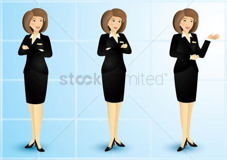 Posing : Set of businesswomen design