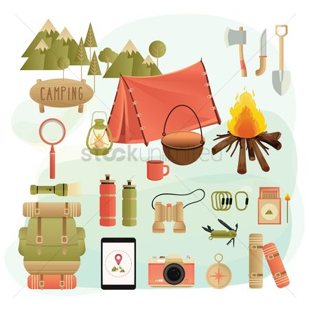 Magnifying : Set of camping equipment