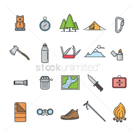 Mountains : Set of camping equipment