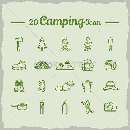 Paddle : Set of camping icons