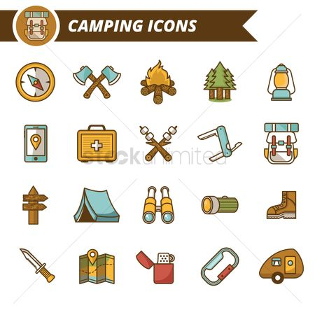 Footwears : Set of camping icons