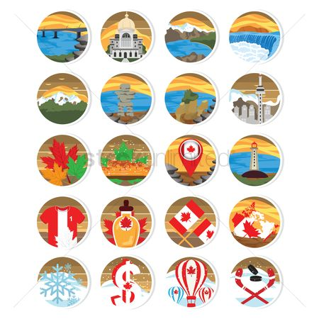 Lighthouses : Set of canada icons