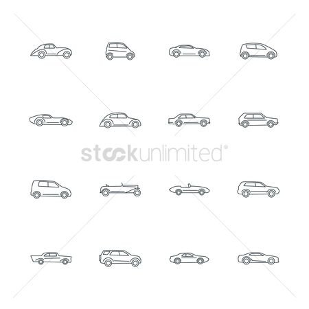 Vintage car : Set of car icons