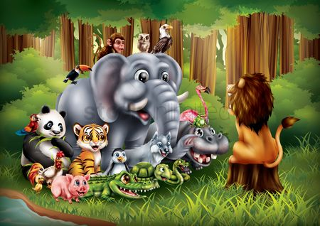 Cartoon : Set of cartoon animals posing