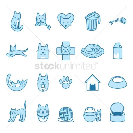 Beverage : Set of cat icons