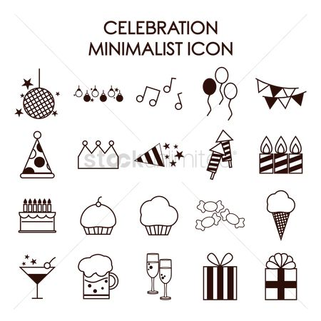 Champagnes : Set of celebration icons