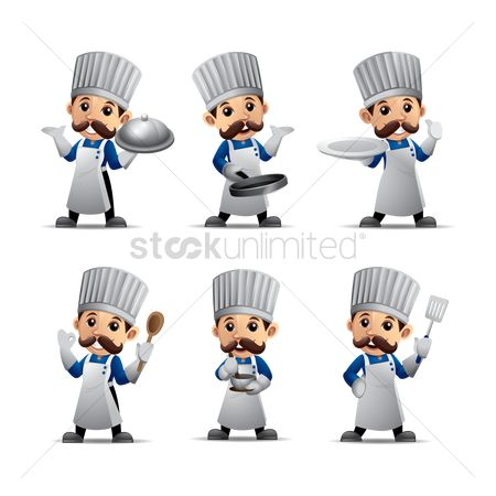 Wooden sign : Set of chef figures