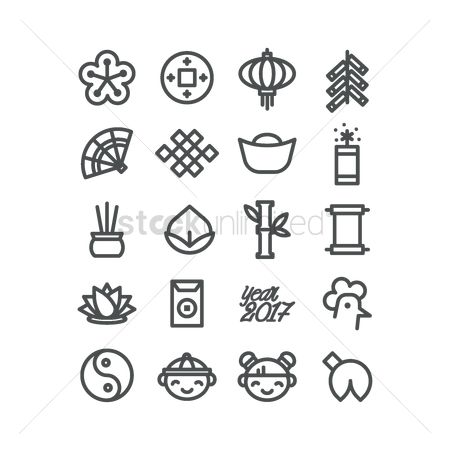 Traditions : Set of chinese new year icons
