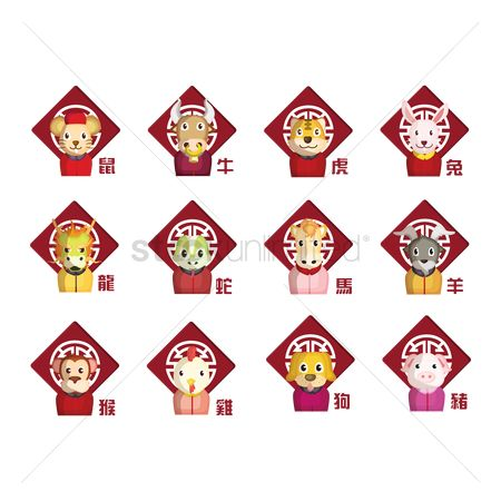 Roosters : Set of chinese zodiac icons