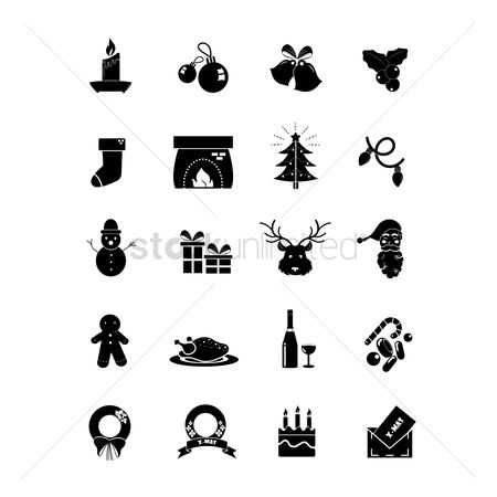 Santa : Set of christmas icons