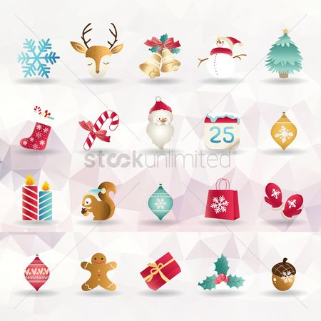 Boxes : Set of christmas icons