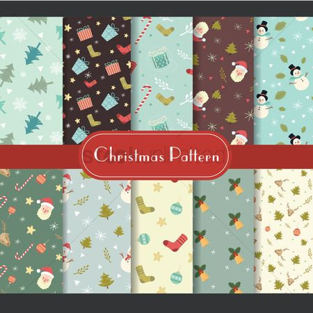 Boxes : Set of christmas pattern icons