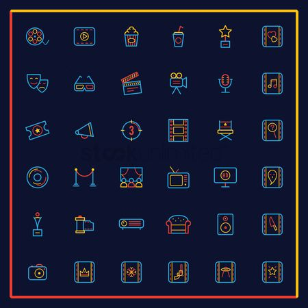 Broadcasting : Set of cinema icons