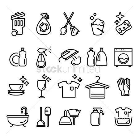 Washing machine : Set of cleaning icons
