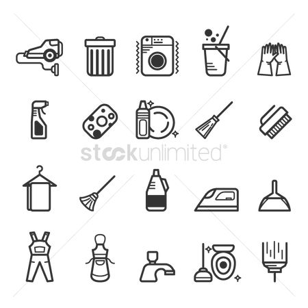 Faucets : Set of cleaning icons