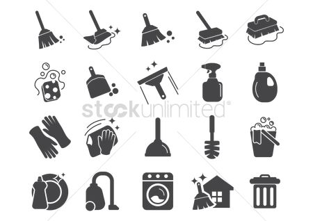 Washing machine : Set of cleaning tools icons