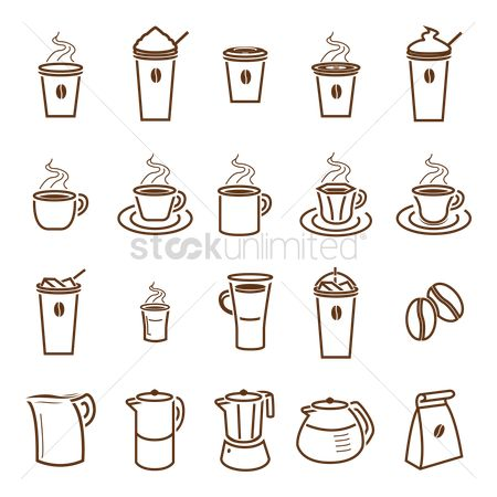 Take away cup : Set of coffee icons