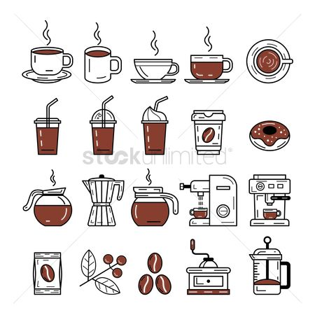 Beverage : Set of coffee icons