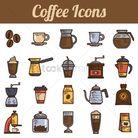 French : Set of coffee icons