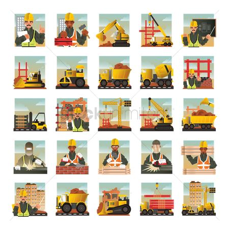 Lorries : Set of construction icons
