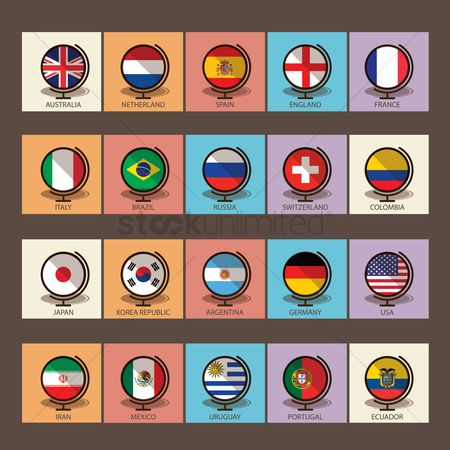 England : Set of countries on globe icons
