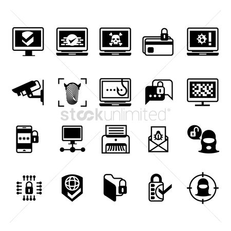 Password : Set of crime icons