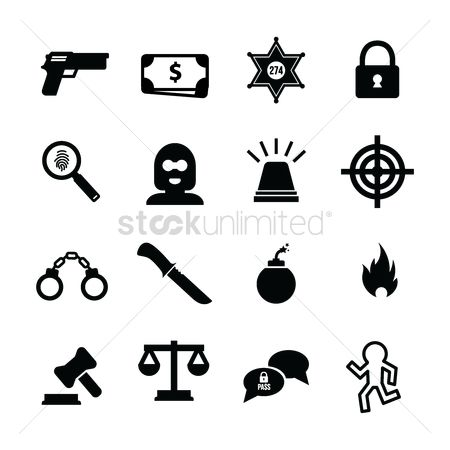 Password : Set of criminal icons