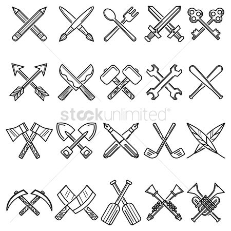 Trumpets : Set of cross icons