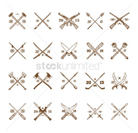Baseball : Set of crossed icons