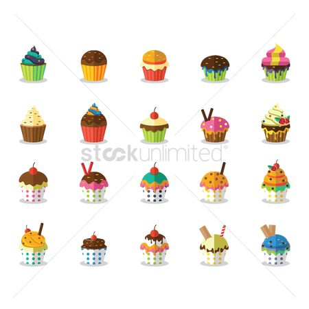 Biscuit : Set of cupcake icons