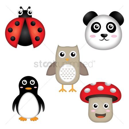 Penguins : Set of cute animals and a mushroom