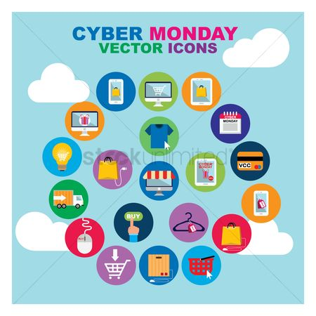 Monday : Set of cyber monday icons