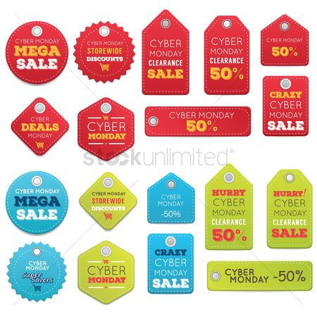 Monday : Set of cyber monday sale tags