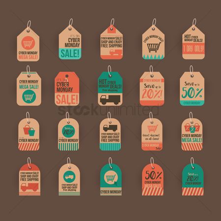 Lorries : Set of cyber monday sale tags