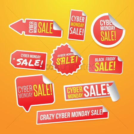 Monday : Set of cyber monday stickers