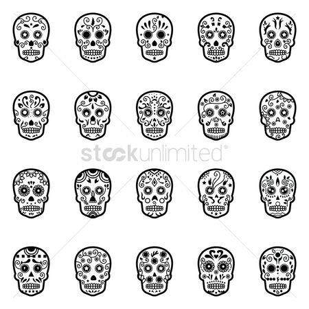 Traditions : Set of day of the dead skulls